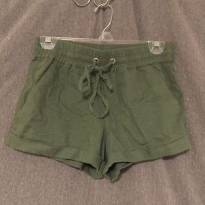 Army Green Drawstring Shorts